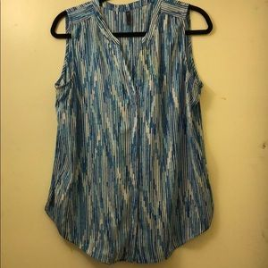 Blue and white sleeveless top